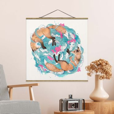 Foto su tessuto da parete con bastone - Laura Graves - Illustrazione volpi e Onde Pittura - Quadrato 1:1