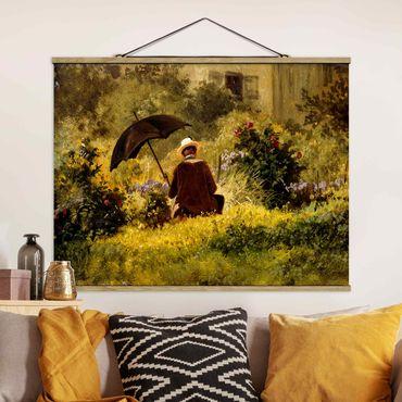 Foto su tessuto da parete con bastone - Carl Spitzweg - Il Pittore In The Garden - Orizzontale 3:4