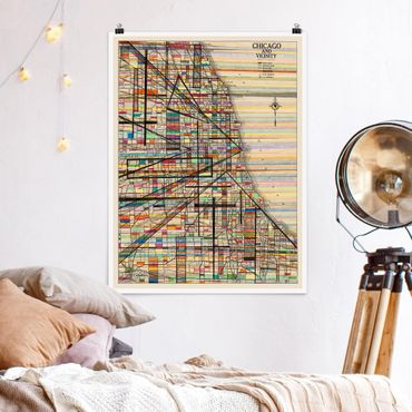 Poster - Mappa moderna Of Chicago - Verticale 4:3