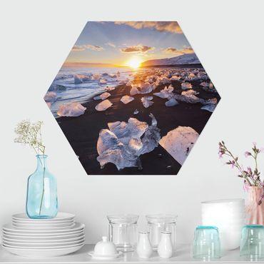 Esagono in forex - Pezzi di ghiaccio Sulla Spiaggia Islanda