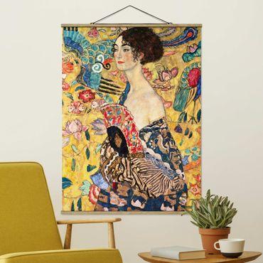 Foto su tessuto da parete con bastone - Gustav Klimt - Donna con ventaglio - Verticale 4:3