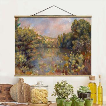 Foto su tessuto da parete con bastone - Auguste Renoir - paesaggio con lago - Orizzontale 3:4