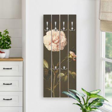 Appendiabiti in legno - Barbara Regina Dietzsch - Rosa Gallica Con Bumblebee - Ganci cromati - Verticale