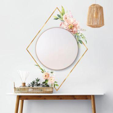 Adesivo murale - Acquerello Fiori rosa oro XXL Telaio