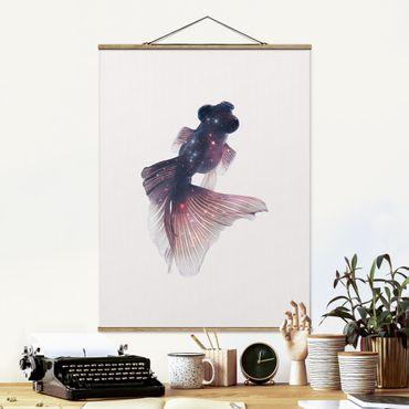 Foto su tessuto da parete con bastone - Pesce Con Galaxy - Verticale 4:3