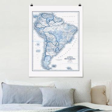 Poster - Mappa nei toni blu - America del Sud - Verticale 4:3