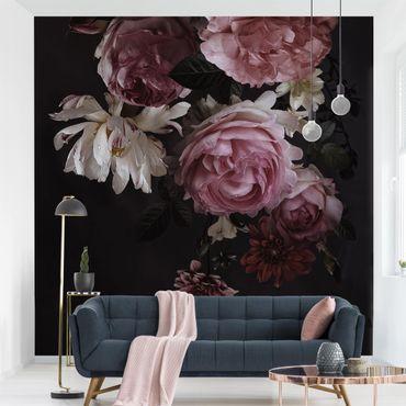 Carta da parati adesiva - Pink Flowers On Black- Formato quadrato