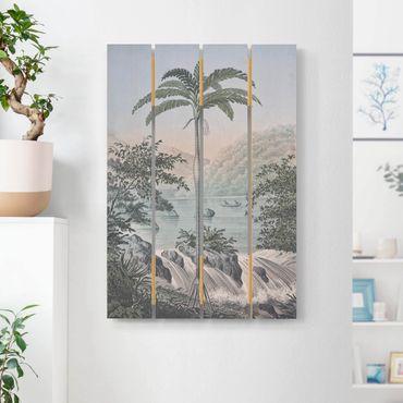 Stampa su legno - Vintage Illustrazione - Paesaggio Con La Palma - Verticale 3:2