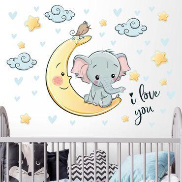 Adesivo murale bambini - Elefantino sulla luna I love you