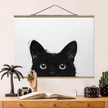 Foto su tessuto da parete con bastone - Laura Graves - Illustrazione pittura Gatto nero su bianco - Orizzontale 3:4