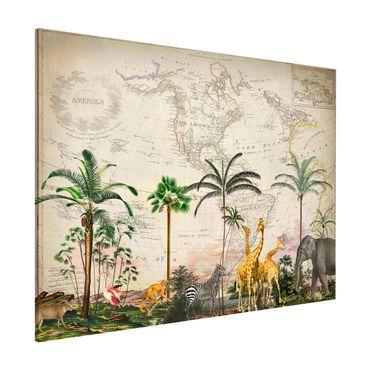 Lavagna magnetica - Vintage Collage - Wildlife sulla mappa del mondo - Formato orizzontale 3:4