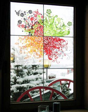 Decorazione per finestre Retro Flowers