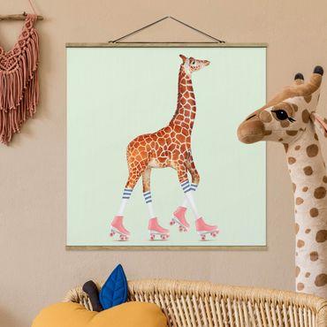 Foto su tessuto da parete con bastone - Giraffa con Pattini a rotelle - Quadrato 1:1