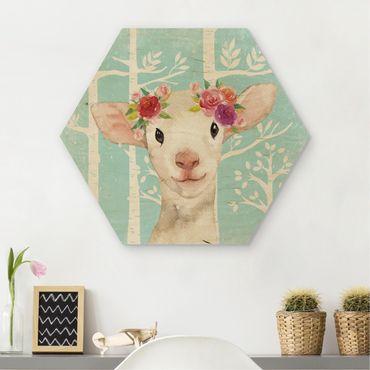 Esagono in legno - Acquerello Sheep Turchese