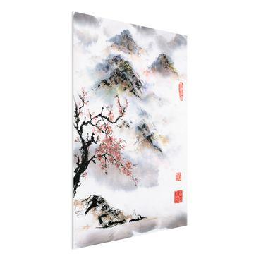 Stampa su Forex - Giapponese disegno ad acquerello Ciliegio E Montagne - Verticale 4:3