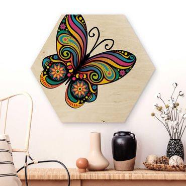 Esagono in legno - No.Bp22 Mandala farfalla