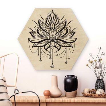 Esagono in legno - Lotus con le catene