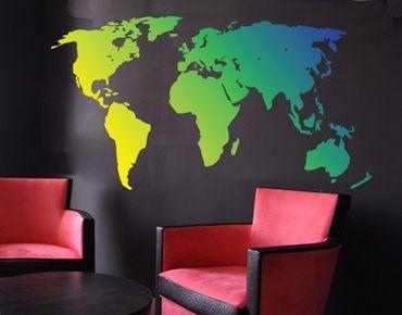 Adesivo murale no.213 World Map Green