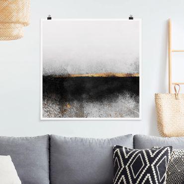 Poster - Estratto Golden Horizon Bianco e nero - Quadrato 1:1
