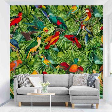 Carta da parati adesiva - Collage colorato - Pappagalli nella giungla- Formato quadrato