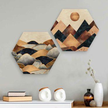 Esagono in legno - Elisabeth Fredriksson - Geometrico & Oro Monti Acquerello