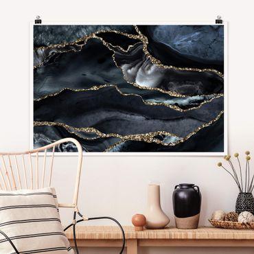 Poster - Nero con glitter oro - Orizzontale 2:3