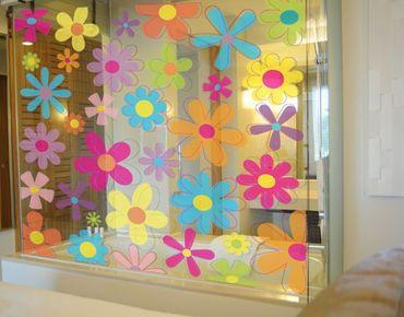 Adesivi da finestra no.172 retro flowers