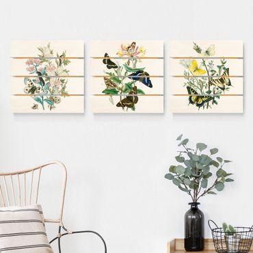 Quadro in legno effetto pallet - Farfalle britannico Set I - Quadrato 1:1