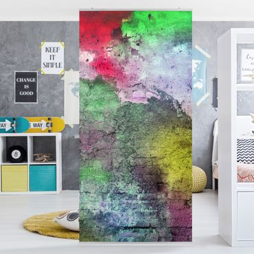 Tenda a pannello Colorful sprinkled old brick wall 250x120cm