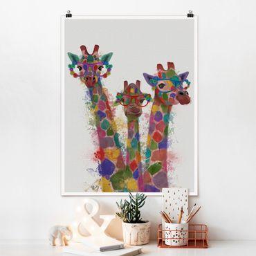 Poster - Arcobaleno Splash Giraffe Trio - Verticale 4:3