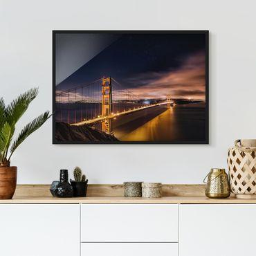 Poster con cornice - Golden Gate To Stars - Orizzontale 3:4