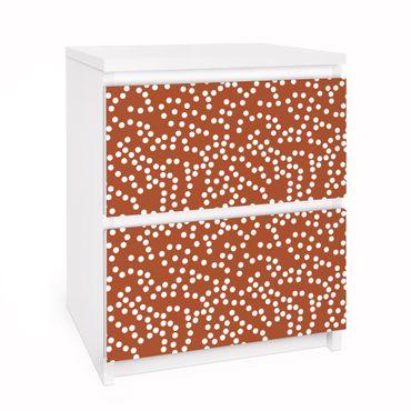 Carta adesiva per mobili IKEA - Malm Cassettiera 2xCassetti - Aboriginal dot pattern Brown