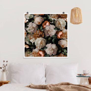 Poster - Red Rose con rose bianche - Quadrato 1:1