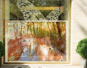 Decorazione per finestre no.CG86 Butterfly Wood
