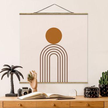 Quadro su tessuto con stecche per poster - Line Art Circle e linee in rame - Quadrato 1:1