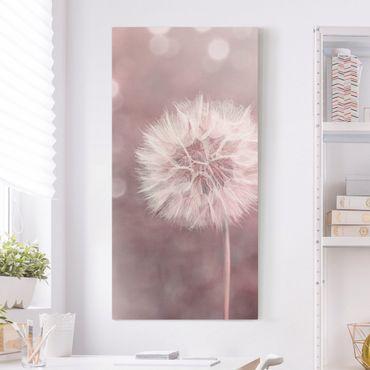 Stampa su tela - Dandelion rosa bokeh - Verticale 2:1