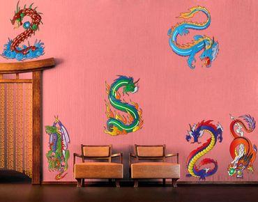 Adesivo murale no.330 Dragon Set