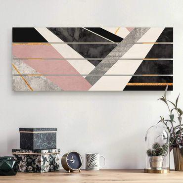 Stampa su legno - Elisabeth Fredriksson - Bianco e nero Geometria con oro - Orizzontale 2:5