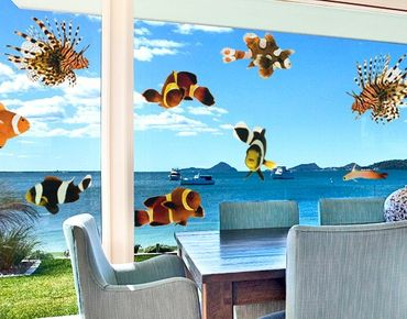 Adesivi da finestra no.392 Tropical Fishes Set Small