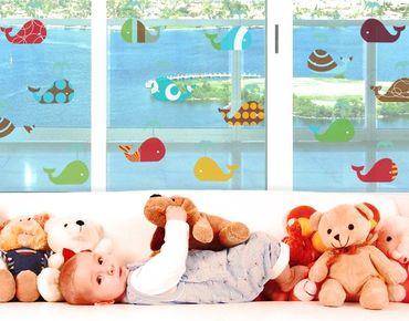 Adesivi da finestra No.405 retrowhales set