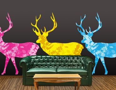 Adesivo murale no.408 Three Decostyle Deers Set CMYK