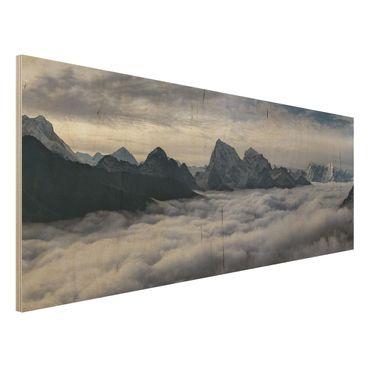 Quadro in legno - Mare di nubi in Himalaya - Panoramico