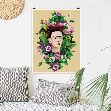 Poster - Frida Kahlo - Frida, scimmia e pappagallo - Verticale 4:3