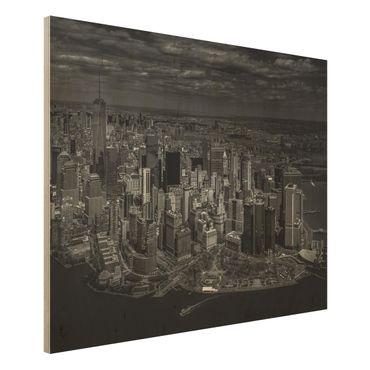 Quadro in legno - New York - Manhattan da The Air - Orizzontale 4:3