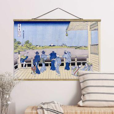 Foto su tessuto da parete con bastone - Katsushika Hokusai - La Sala Sazai - Orizzontale 2:3