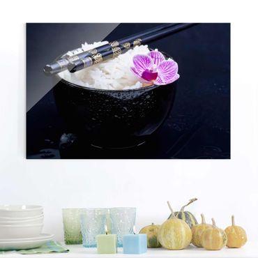Quadro in vetro - Rice Bowl Con L'orchidea - Orizzontale 2:3