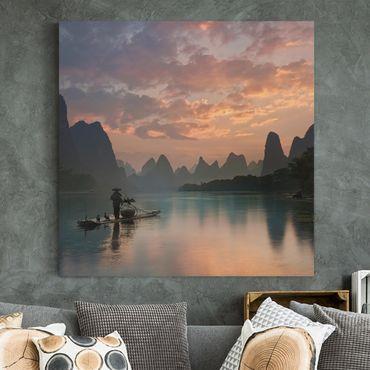 Stampa su tela - Alba sul fiume cinese - Quadrato 1:1