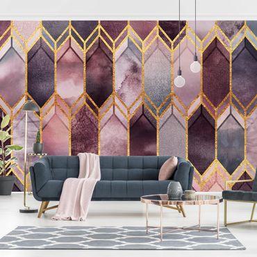 Carta da parati - Stained Glass geometrica in oro rosa- Formato quadrato