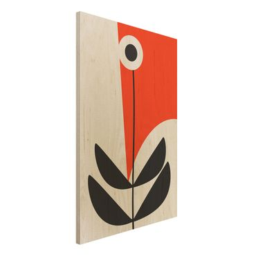 Stampa su legno - Forme astratte - fiore in rosso - Verticale 3:2