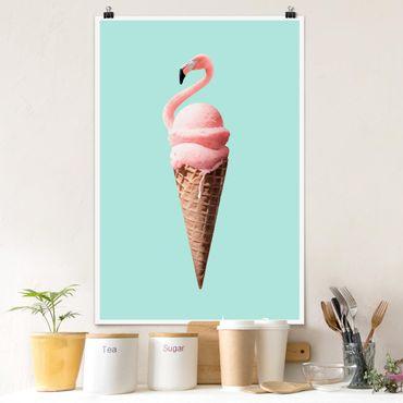 Poster - Jonas Loose - Ghiaccio Con Flamingo - Verticale 3:2